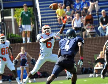 Jason Brown makes a leaping one-handed grab for a score in last year's game with Catawba