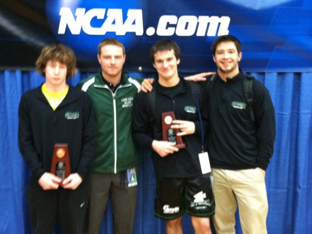 Freshmen NCAA qualifiers Austin Gillihan and Matt Vandermeer with Head Coach Kevin Hoogenboom and Assistant Coach Eric Lakia