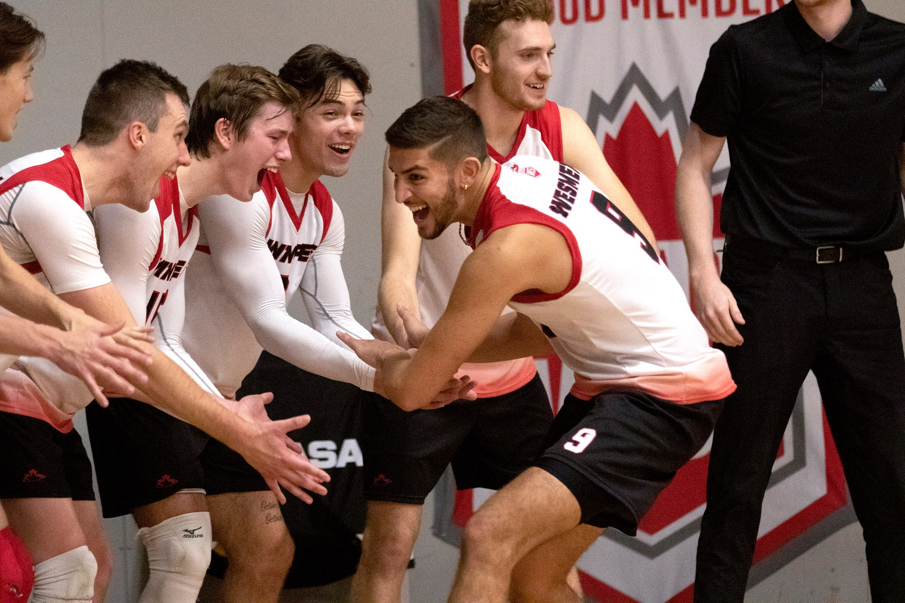 Nigel Nielsen had a career-high 11 kills to lead the Winnipeg Wesmen in a loss at Trinity Western, Saturday, Oct. 26, 2019. (David Larkins/Wesmen Athletics file)