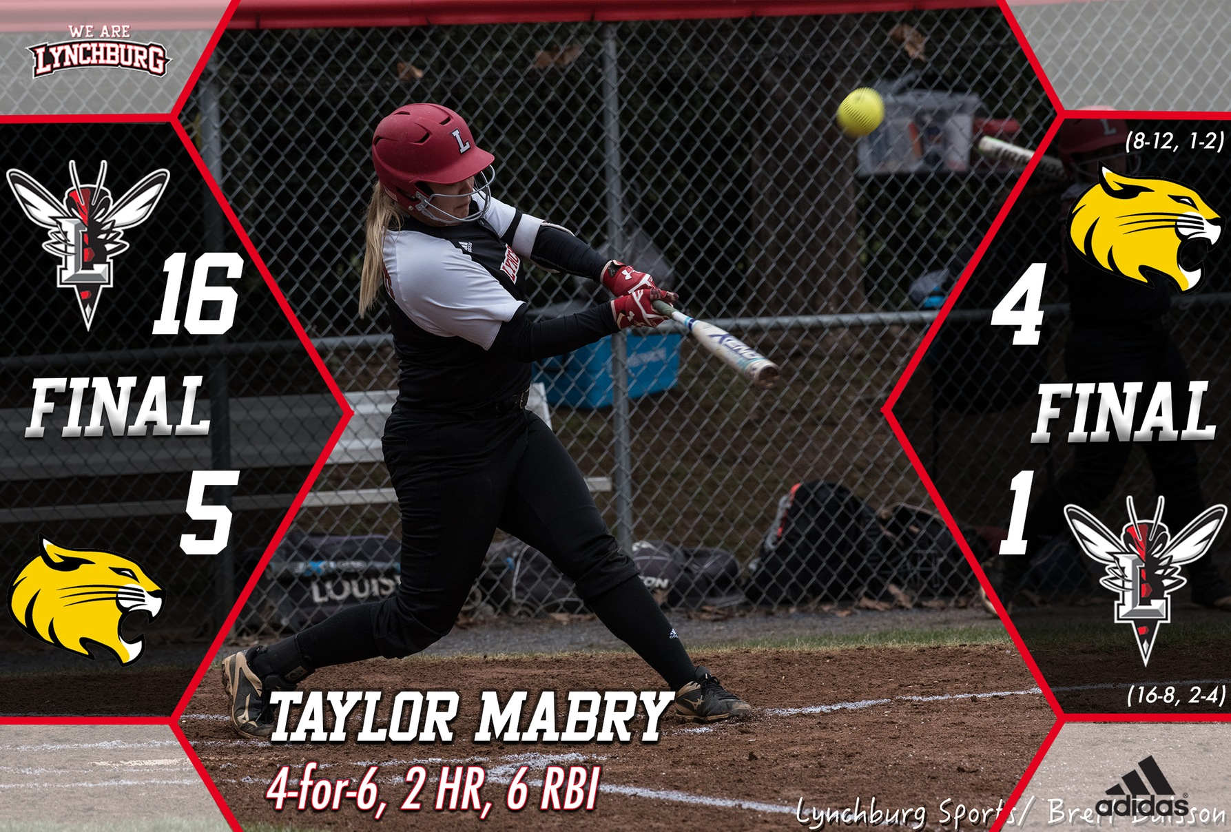 Taylor Mabry hits a softball. Text: taylor mabry 4-for-6 2 HR, 6 RBI