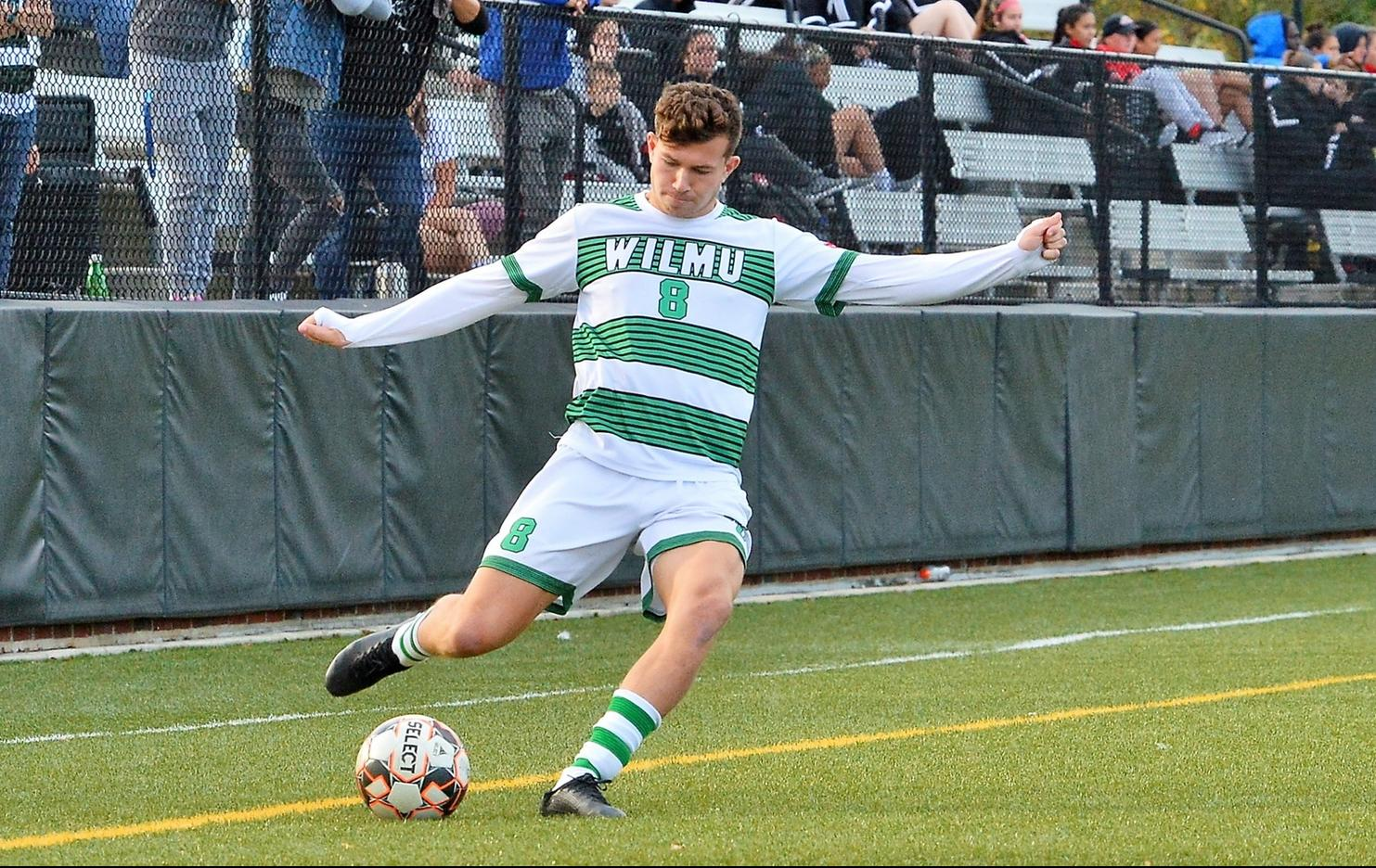 File photo of Ben Jordan who scored two goals and added an assist at Chestnut Hill. Copyright 2019; Wilmington University. All rights reserved. Photo by James Jones. October 19, 2019 vs. Caldwell.