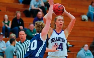 Senior forward Erin Boggan had 10 points and eight rebounds in Scranton's 69-52 loss to No. 13 Catholic on Saturday night.