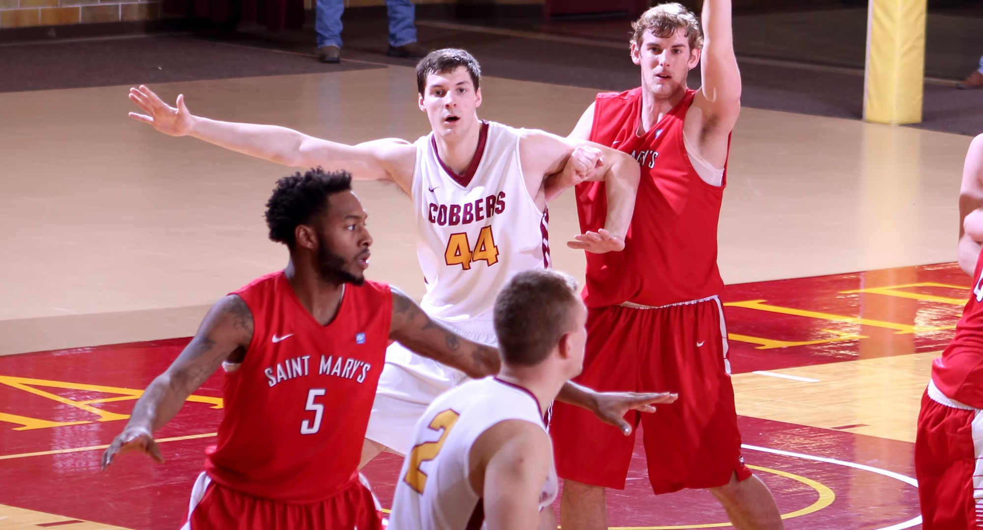 Senior Kevin Wolfe had a career-high 10 rebounds in the Cobbers' 67-64 win at St. Mary's.