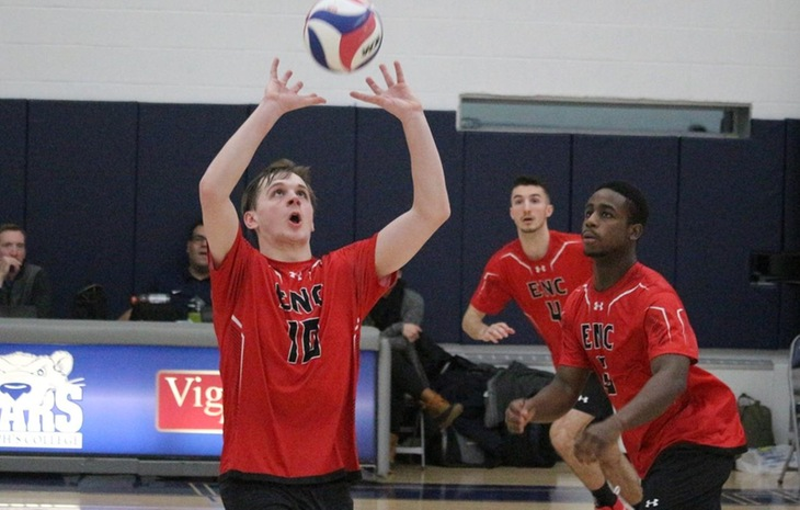 Men's Volleyball Sweeps Lesley, Blanked by Elms Saturday