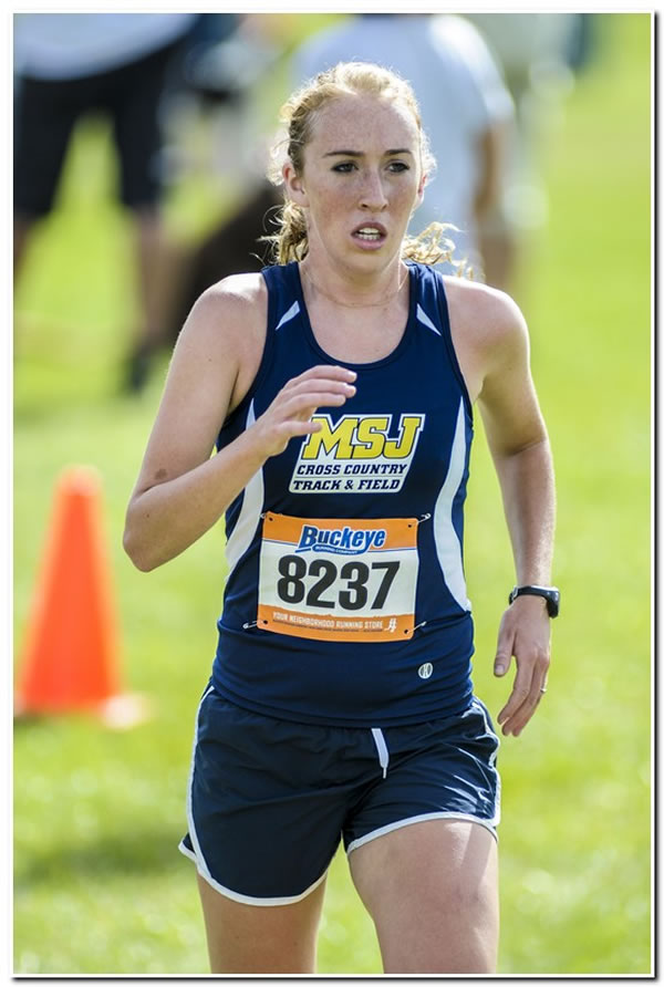 Mount women's cross country team in action at the Earlham College Invitational