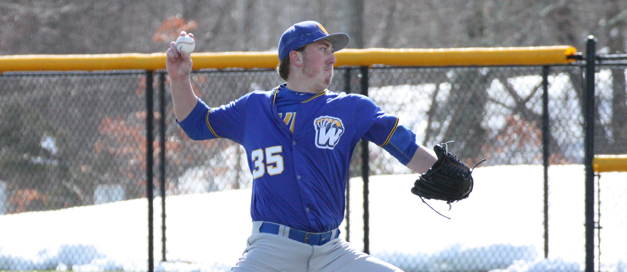 Senior right-hander Jake Kawiecki matched his career-high with eight strikeouts in Western New England's 5-3 victory over St. Olaf on Saturday.