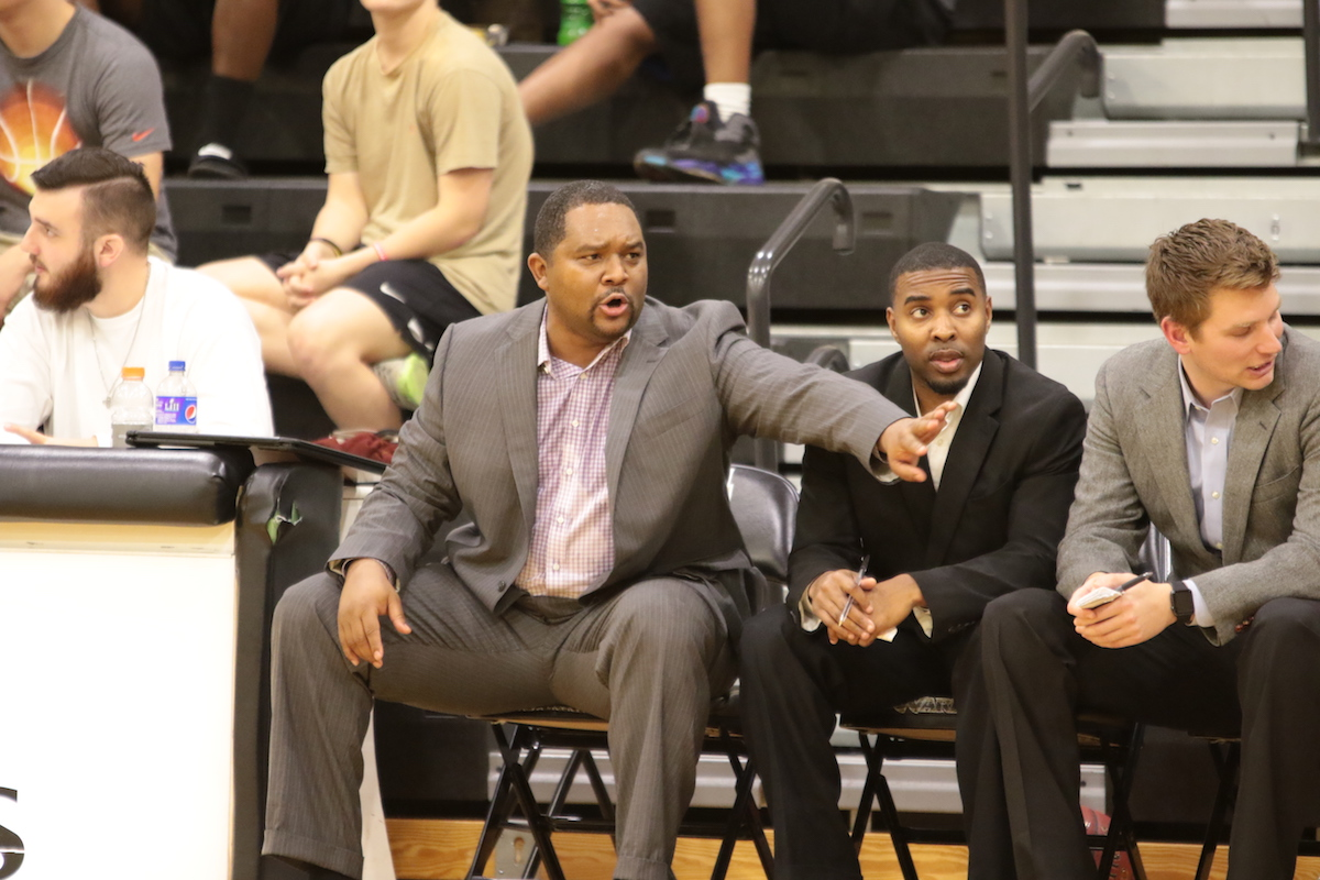 Assistant basketball coach Chris Woodall (pictured in the middle) recently accepted an assistant position at Jackson State University. (KRISTI HARRIS/PRCC ATHLETICS)