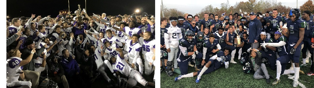 Gonzaga (on Left, Capital Conference) and St. Mary's Ryken (on Right, Metro Conference) win the 2018 WCAC Football Championships.