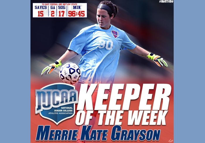 ICC's Grayson earns NJCAA Women's Keeper of the Week Honor