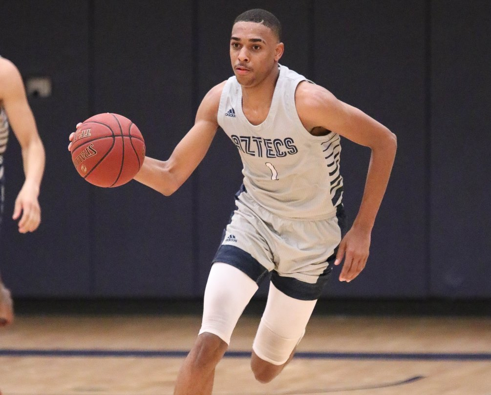 Sophomore Kaylon Tippins (Cholla HS) finished with a double-double of 21 points and 15 rebounds to go along with three  blocks and three steals as No. 4 ranked Aztecs men's basketball beat Christian Community College 114-77 to open the 2019-20 regular season. Photo by Stephanie Van Latum