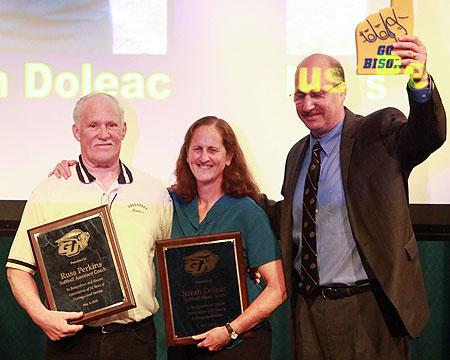 Sarah Doleac, Russ Perkins and Mike Weinstock during the Awards Ceremony