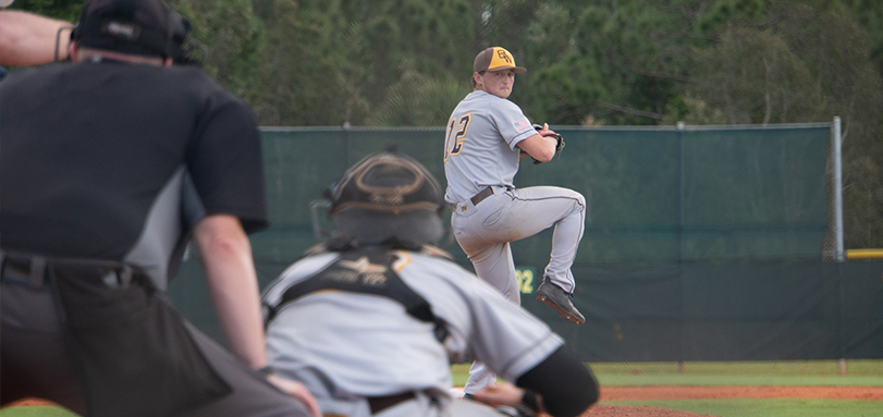 Senior Jack Raines had a career-high 12 strikeouts in the victory over Oberlin College (Photo Courtesy of Alec Palmer)