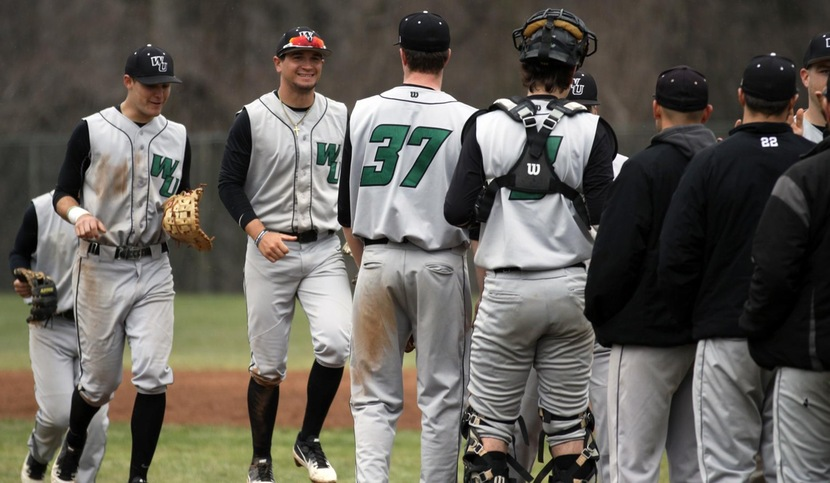 Copyright 2018; Wilmington University. All rights reserved. Photo following the opening game win at Jefferson, taken by Dan Lauletta. March 28, 2018 at Jefferson.