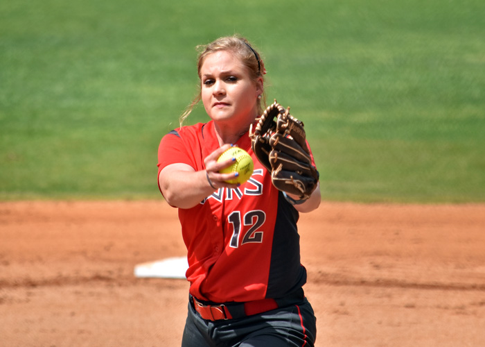 Raina Lanier pitched a complete-game three-hitter in a 1-0 win over Piedmont in Game 1 of a doubleheader on Sunday.