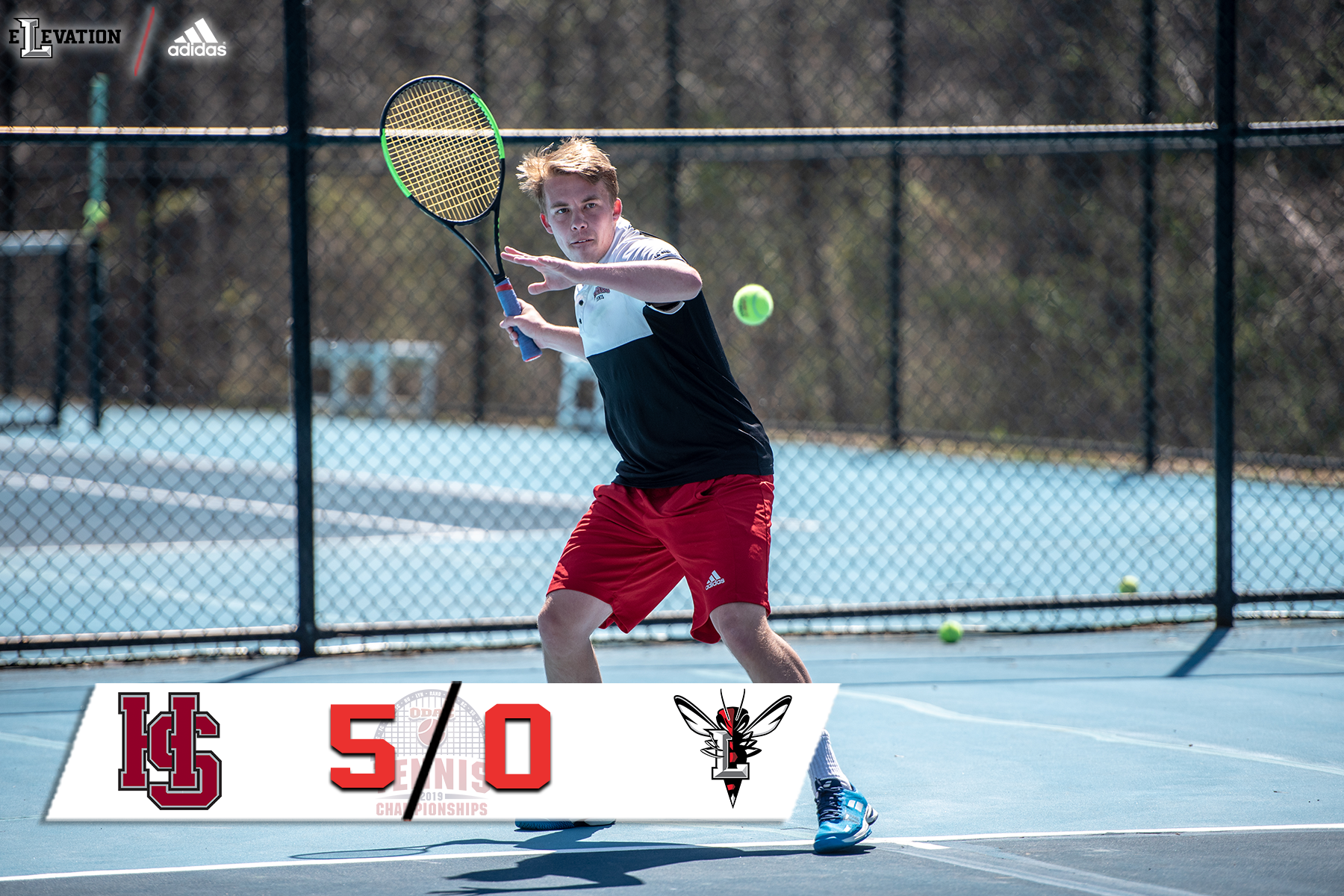 Brad Carson hitting a forehand. Score graphic showing 5-0 with ODAC tennis logo in bottom left.