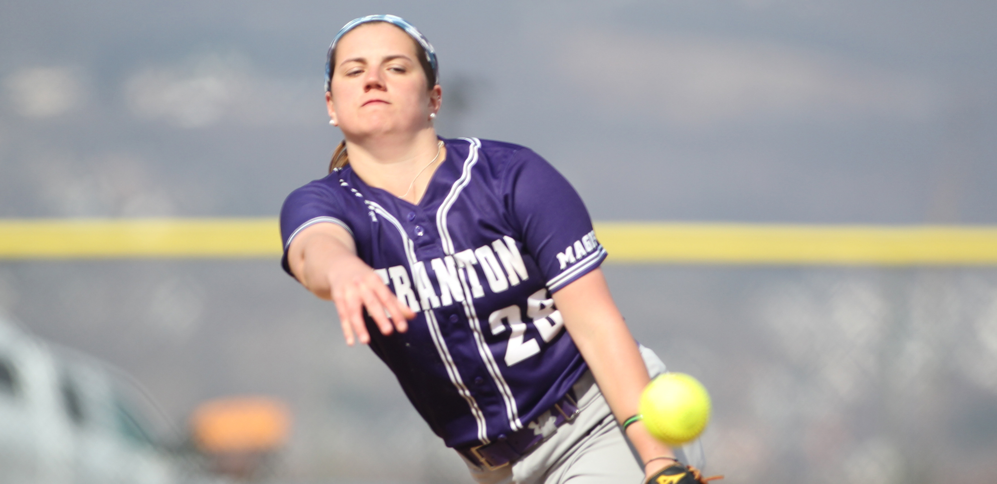 Sophomore Meaghan Dowdell improve to 8-1 on the season on Monday and also added a pair of hits while scoring two runs in Scranton's game two win over Cedar Crest. © Photo by Timothy R. Dougherty / doubleeaglephotography.com
