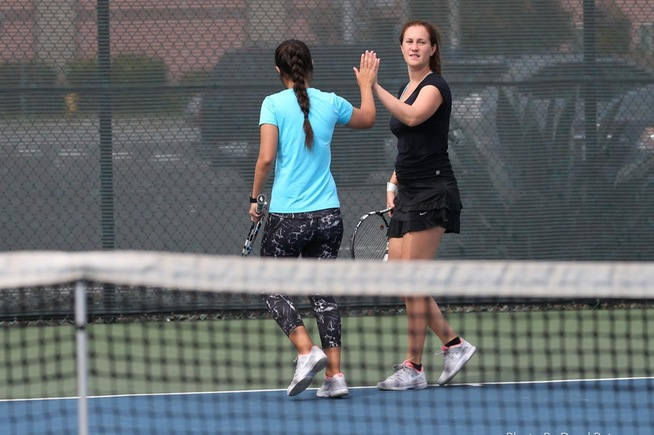 File Photo: (L-R) Alba Gonzalez and Moa Lindstrom won their doubles match