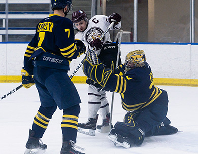 Cross-town rivals MacEwan and NAIT skate to 1-1 draw in classic goaltending battle