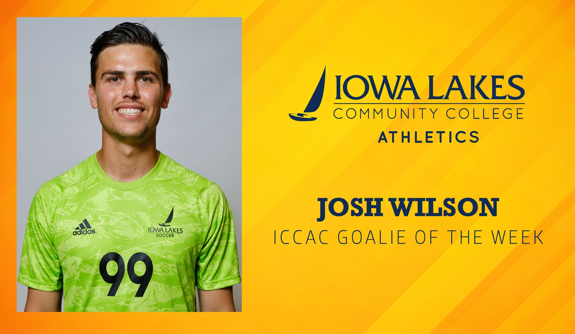 JOSH WILSON NAMED ICCAC GOALIE OF THE WEEK FOR THIRD TIME THIS YEAR