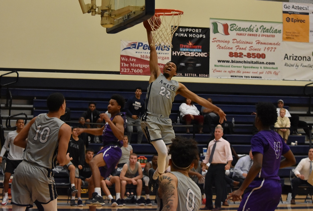 Sophomore Davonte Eason (Tucson HS) scored 15 of his 20 points in the second half and also grabbed 11 rebounds in Pima's 99-77 win over Scale Prep Academy on Friday in the first day of the Aztec Classic Invitational. The Aztecs are 9-3 on the season. Photo by Ben Carbajal