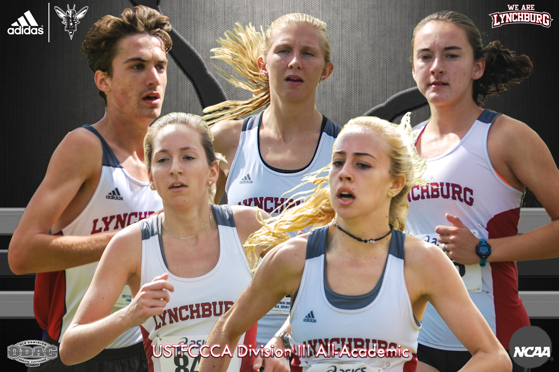Five cross country runners running, four female and one male. Text: USTFCCCA All-Academic