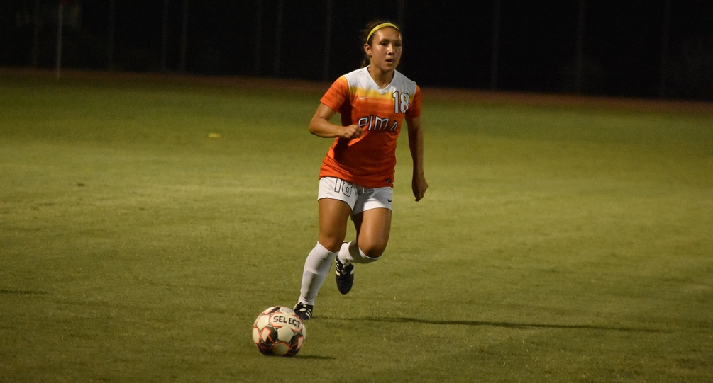 Freshman Taylor Gutierrez (Tucson HS) scored Pima's goal in the 80th minute but the Aztecs surrendered two goals in the first four minutes of play. Pima lost 3-1 at No. 8 ranked Phoenix College. The Aztecs are now 8-7-3 on the season. Photo by Ben Carbajal