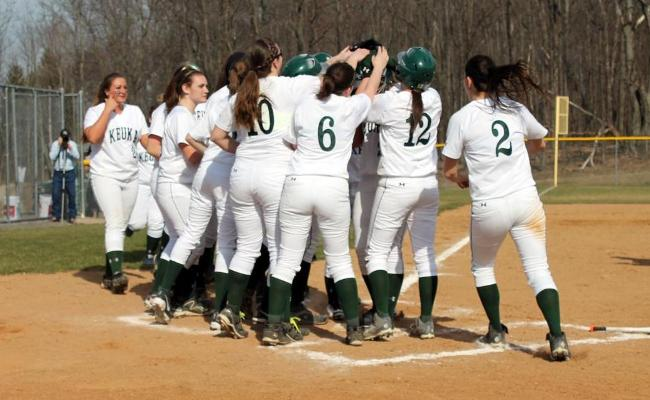 Keuka College's softball team won the NEAC North regular-season championship after beating SUNY Polytechnic 6-5 Tuesday afternoon (photo courtesy of Alex Milazzo).
