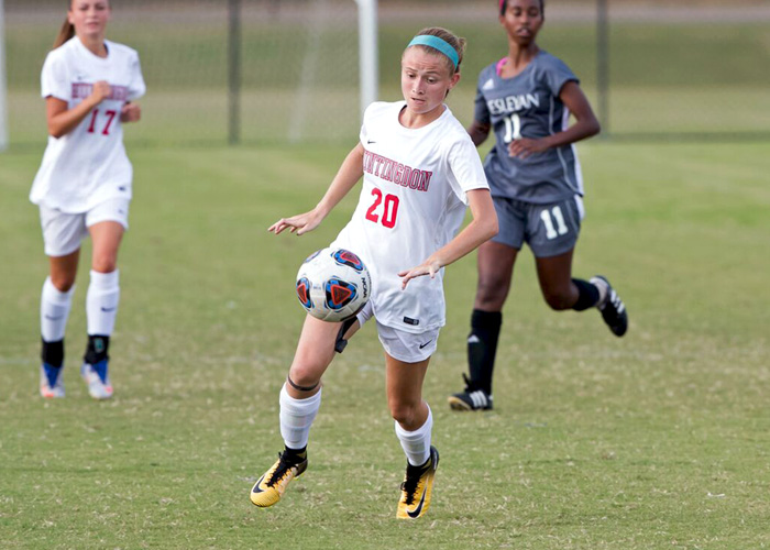 Elena Guy (#20) scored both goals in Huntingdon's 2-0 win over Agnes Scott on Wednesday. (Photo by Lisa Pearson)