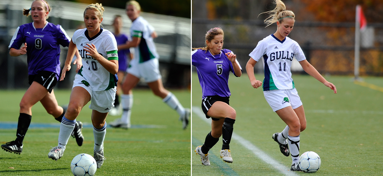This is an image of Kayla and Karyn Plante. They are twin sisters who played women's soccer at Endicott and graduated in 2011. The sisters are shown here in two side by side images in uniform kicking soccer balls during a game.