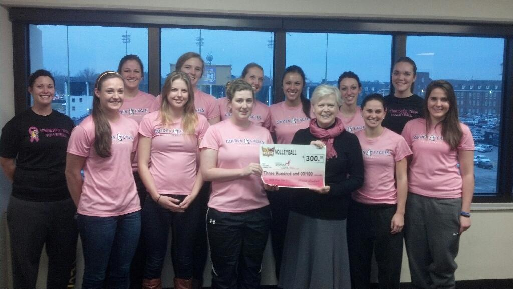 Volleyball donates proceeds from Pink Out event