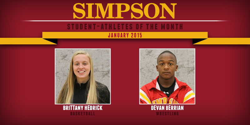 Hedrick, Berrian named January Student-Athletes of the Month