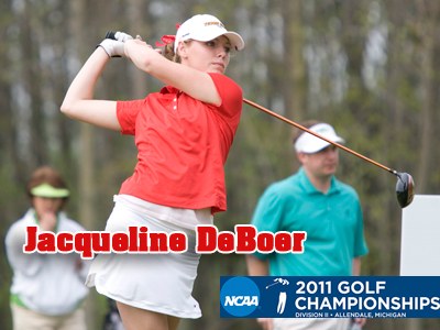 Jacqueline DeBoer is tied for 35th place at NCAA-II Championships following second-round action.  (Photo by Doug Witte)