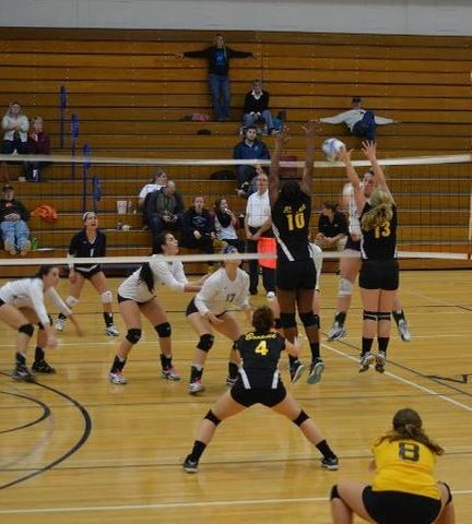 Volleyball blocking a spike