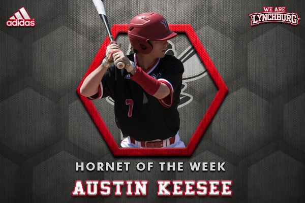 Graphic showing Austin Keesee batting. Text: Hornet of the week austin keesee