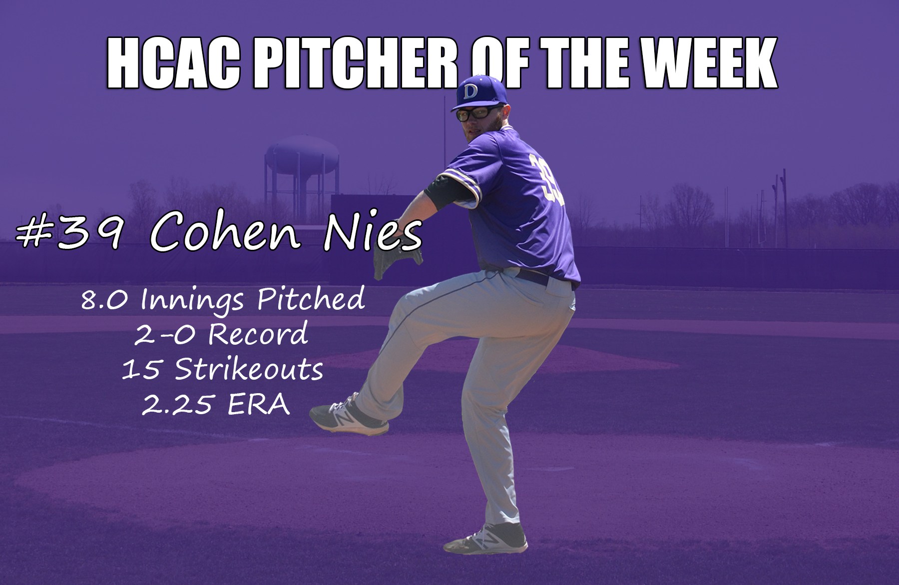 Nies Named HCAC Pitcher of the Week