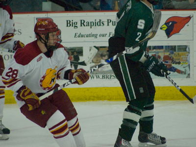 Freshman Kyle Bonis played a part in Friday's victory over Michigan State with a second-period score. (Photo by Joe Gorby)