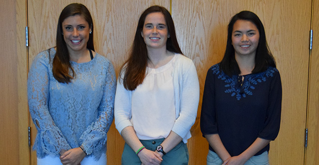 Josie Novak '18, Mary Kate Duncan '18 and Grace Bailly '18 honored at 2018 Lehigh Valley association of Intercollegiate Athletics for Women luncheon.