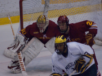 Pat Nagle and Zach Redmond couldn't help Ferris State in being dealt a 2-0 league loss at Michigan.  (Photo by Joe Gorby)