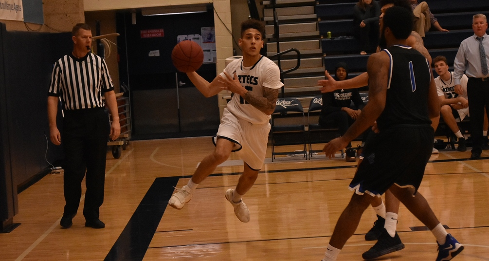 Freshman Abram Carrasco (Cholla HS) scored a game-high 32 points to go along with 10 assists in Pima's 133-95 win over Bismarck State College. The Aztecs improved to 12-1 overall. Photo by Ben Carbajal