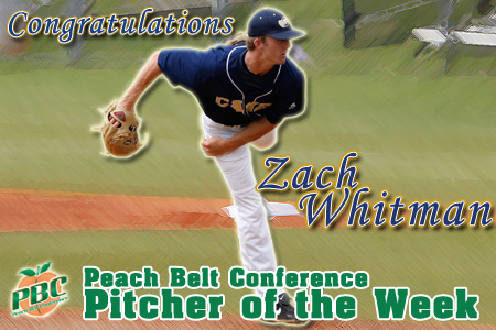 Whitman named PBC Pitcher of the Week