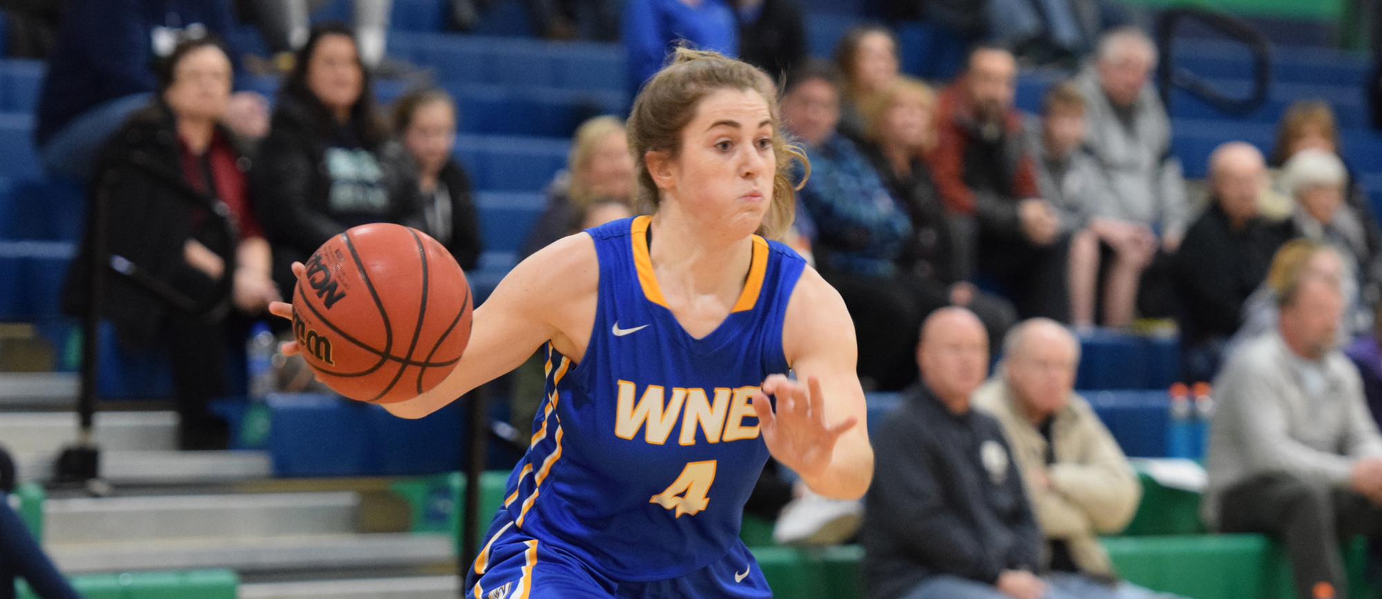 Sophomore Lauren Chadwick finished with a career-high 13 points, four rebounds, three assists and three steals in Western New England's 68-51 win over Gordon on Saturday. (Photo by Rachael Margossian)