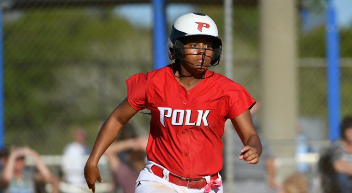 Victoria Perry, running to first base against Lake-Sumter, scored two runs in two games. (Photo by Tom Hagerty, Polk State.)