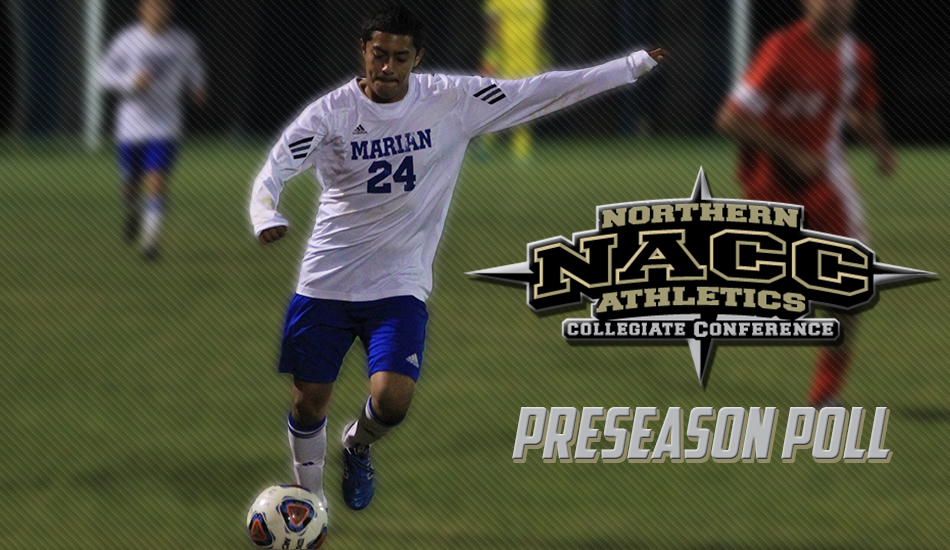 Marian men's soccer NACC preseason poll graphic