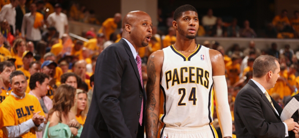 Brian Shaw (L) and Paul George (R).  Shaw, a former UCSB great, was named head coach of the Denver Nuggets.  NBAE/Getty Images