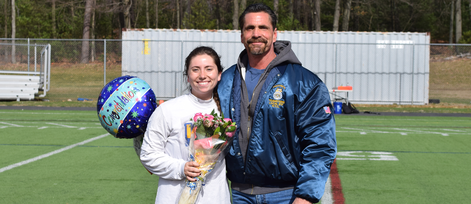 Senior goalie Shannon McFadden was honored prior to the start of Western New England's 14-13, comeback win over Western Connecticut on Wednesday. (Photo by Rachael Margossian)