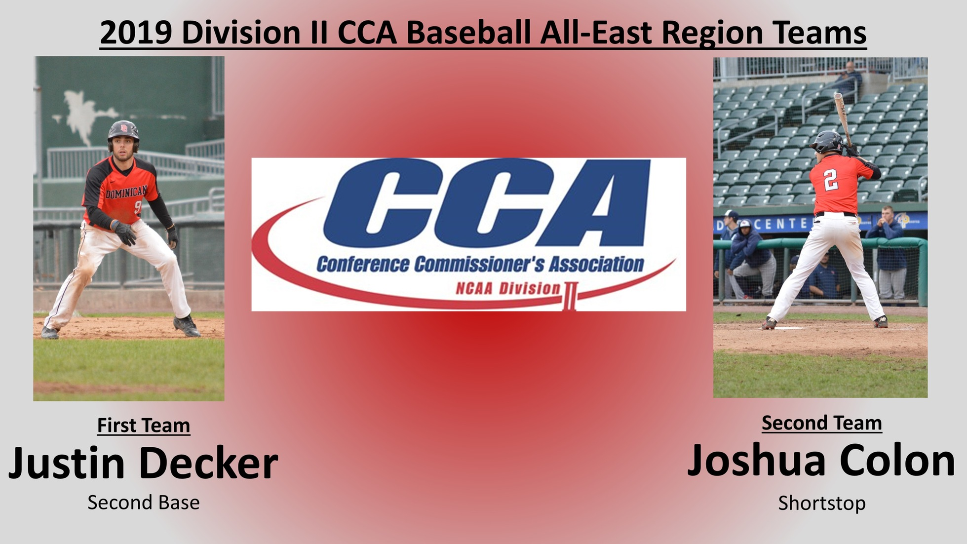 DECKER AND COLON NAMED TO D2CCA BASEBALL ALL-EAST REGION TEAMS