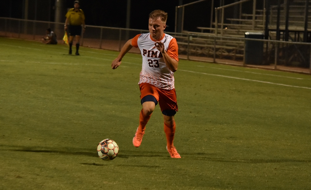 Sophomore Nico Walschburger scored two goals as the No. 8 ranked Aztecs men's soccer team shut out Mesa Community College 4-0. The Aztecs have won six of their last seven games as they improved to 9-2-1 overall and 5-1 in ACCAC conference play. Photo by Ben Carbajal