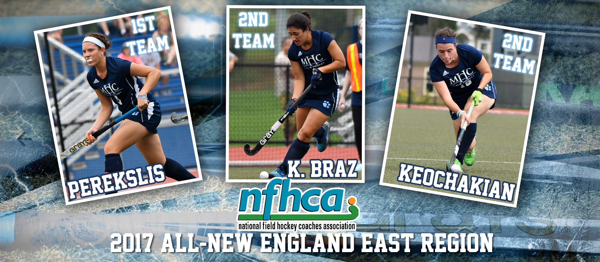 Image depicting action photos of Lyons field hockey players Sophie Perekslis, Kaitlin Braz and Mirjam Keochakian. All three were named to the 2017 NFHCA All-New England East Region Team on Wednesday, November 29.