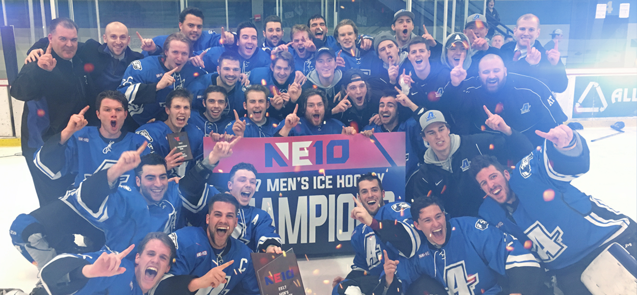 Assumption Scores Three Unanswered Goals to Win First NE10 Ice Hockey Title in Program History