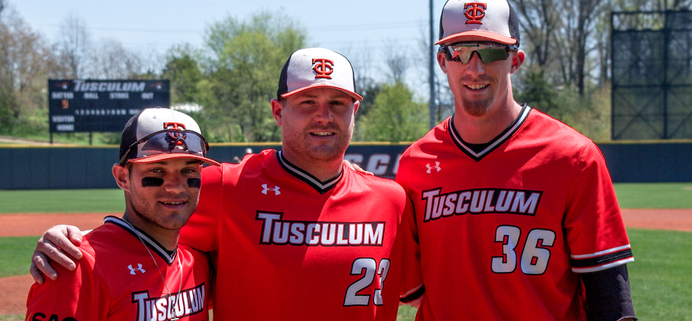 2018 Tusculum Baseball Senior Class (lt-rt): Johnny Reina, Colby Skeen, Spencer Brothers (photo by Chris Lenker)